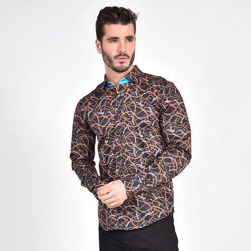 Chains and Straps Print Fitted Shirt