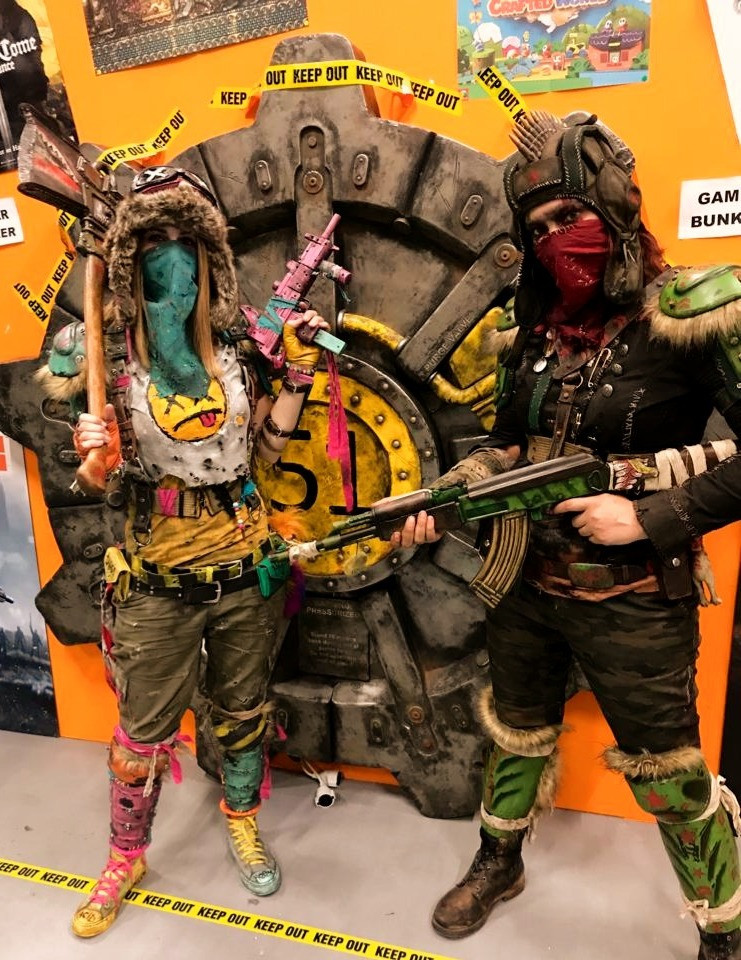 """Here we are. These are our own design """" Personality- Raiders"""", based on how people judge us when they first meet us.  This are two cosplays that will grow with time. Inspirations: Die Antwoord (Chappie), Rage, Far Cry and everything Russian postapo themed. Now off to raid the @gamescom!!! Original idea for the shoulders by @thewastelandshop !!!"""