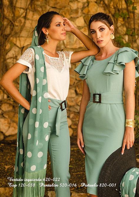 Vestido 620-022 (izq). Top 120-038. Pantalón520-016. Pañuelo 820-001