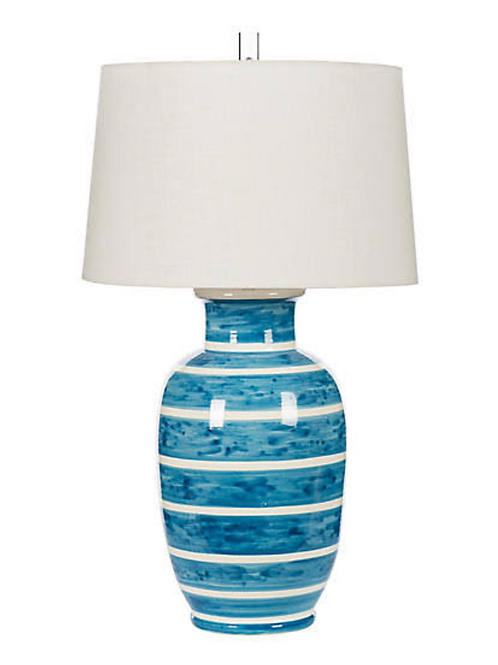Blue and White Stripe Table Lamp