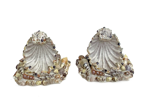 Vintage Pair Sea Shell Wall Sconces