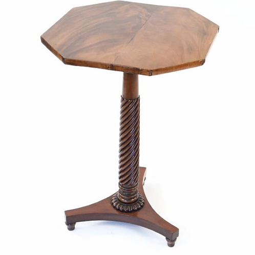 Mahogany Octagonal Side Table w/ Spiral Column