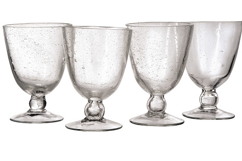Bubble Glass Water Goblet, set of 4