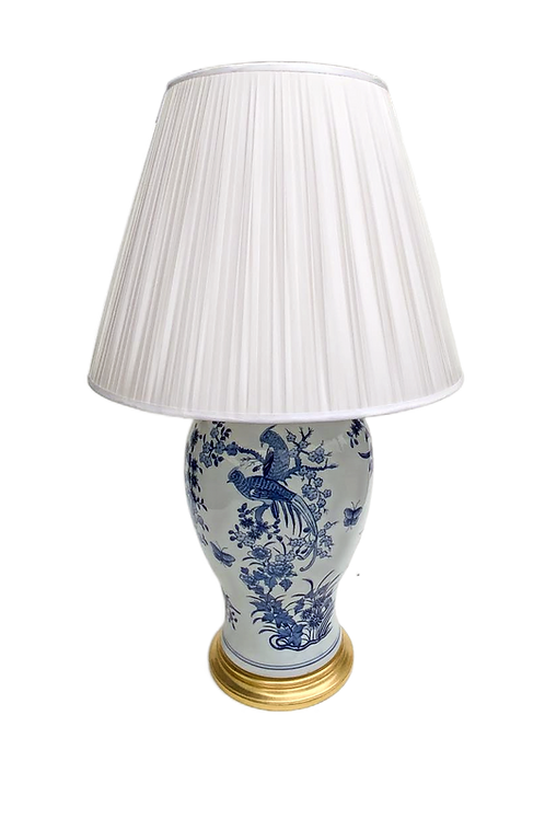 Large Blue and White Lamp with Silk Shade