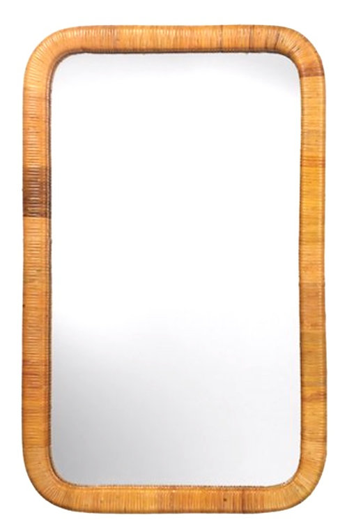 Rattan Wrapped Wall Mirror