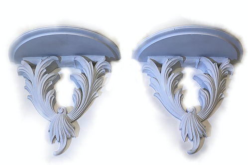 Mid Century Acanthus Leaf Wall Brackets Pair