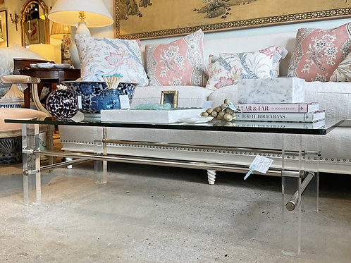 Vintage Lucite and Chrome Glass Coffee Table