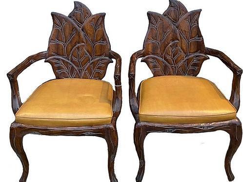 1970's Vintage Reproduction Art Nouveau Leaf Chairs