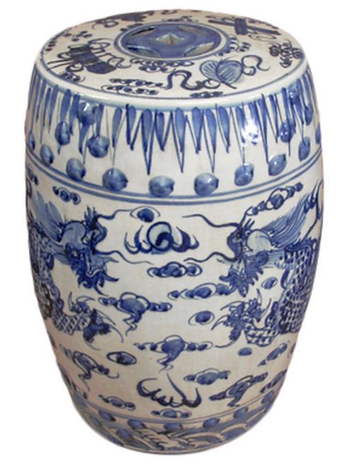 Porcelain Blue White Garden Stool w/ Dragons