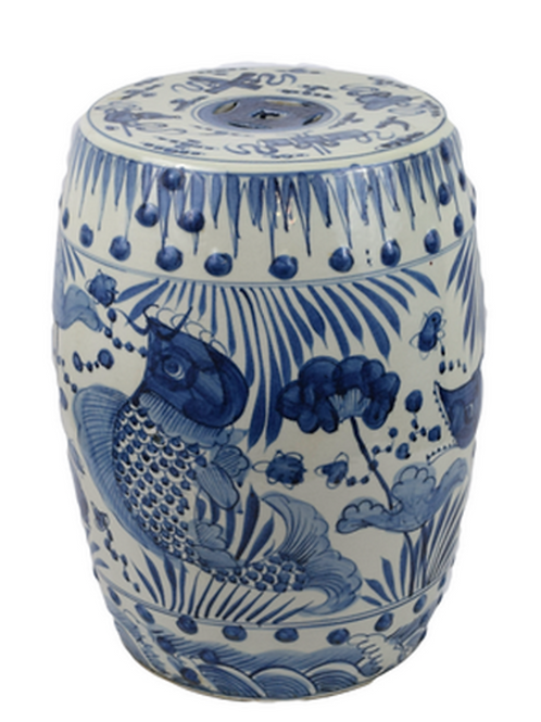 Porcelain Blue White Garden Stool w/ Fish