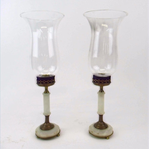 Brass and Alabaster Hurricane Candle Lamps