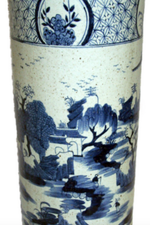 Chinese Import Porcelain Hand Printed Umbrella Stand