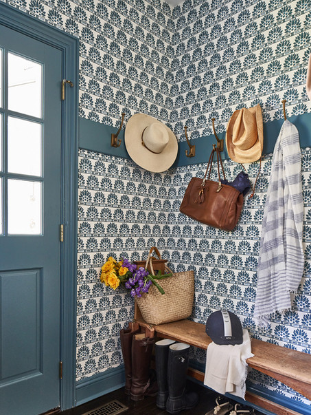 The Mudroom is a fun place to make an exuberant and colorful statement with wallpaper
