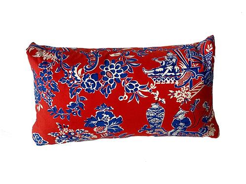 Red Toile Lumbar Pillow