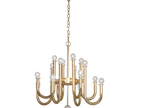 Contemporary Polished Brass Chandelier
