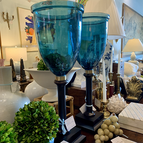 Teal Glass and Wood Hurricanes