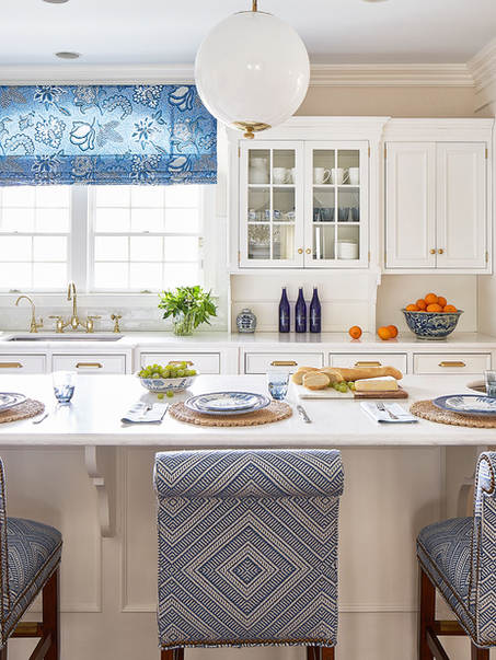 Kitchen facelift with white paint, , brass & blue and white accessories