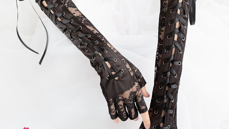 Womens Lace Up Fingerless Gloves