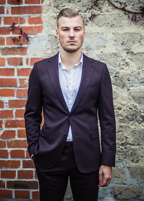"SELECTED Anzug in ""Aubergine"""