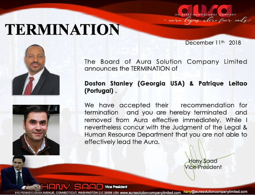 Announcement Letter for Termination : Aura Solution Company Limited