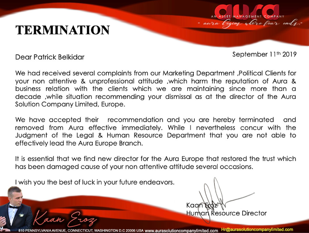 Announcement : Termination Patrick Belkidar : Europe : Aura Solution Company Limited