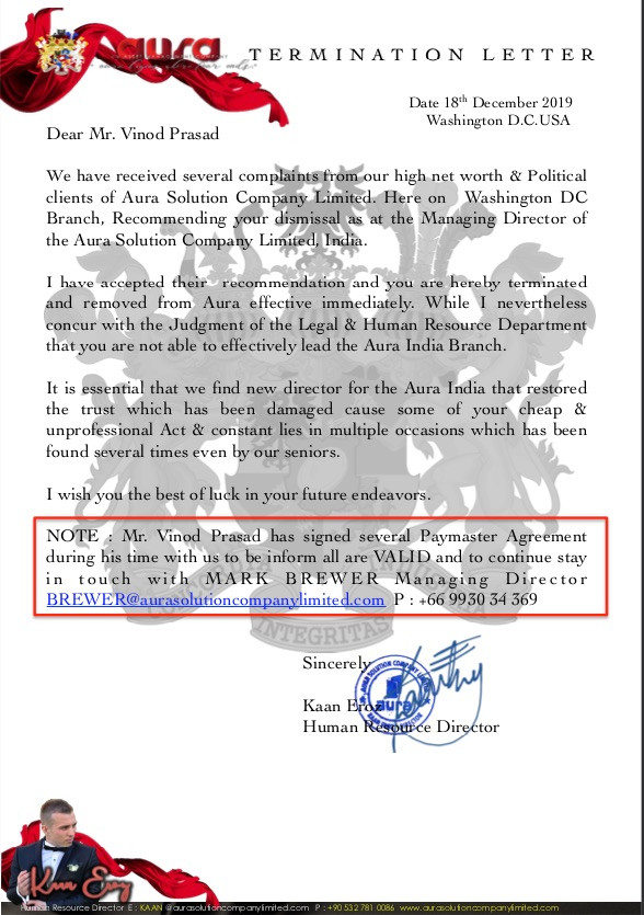 TERMINATION LETTER : Vinod Prasad : India Office : Aura Solution Company Limited