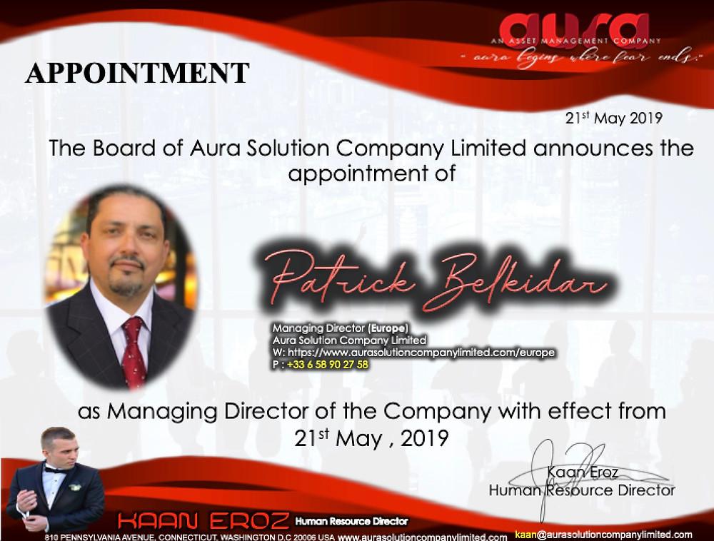 Annonce: Nomination de Patrick Belkidar: Directeur général Europe: Aura Solution Limited