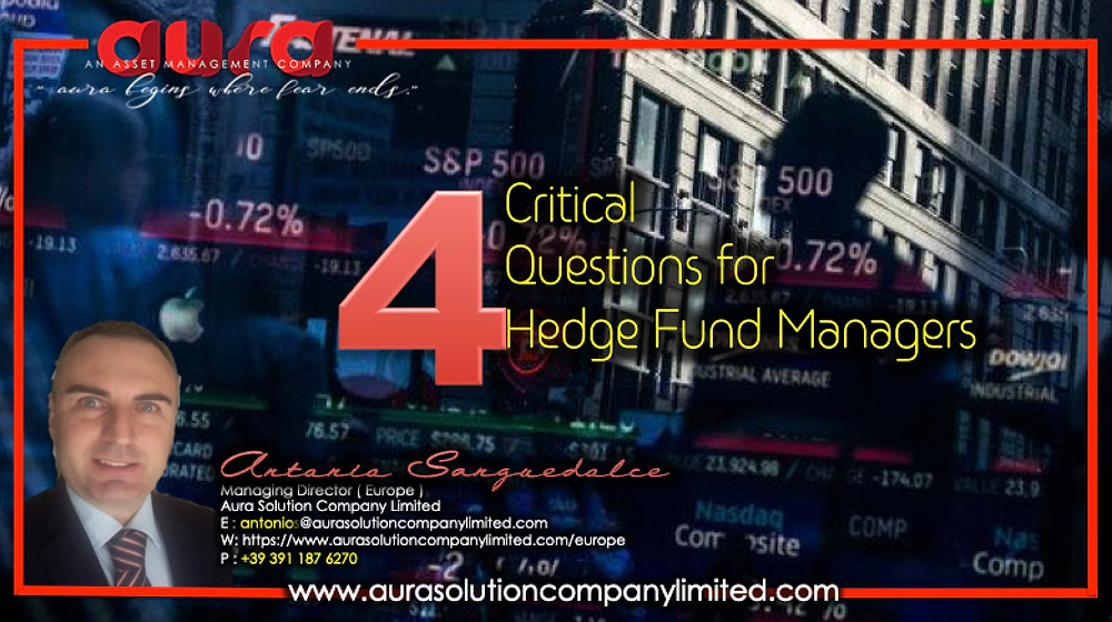 Four Critical Questions for Hedge Fund Managers : Antonio Sanguedolce : Aura Solution Limited