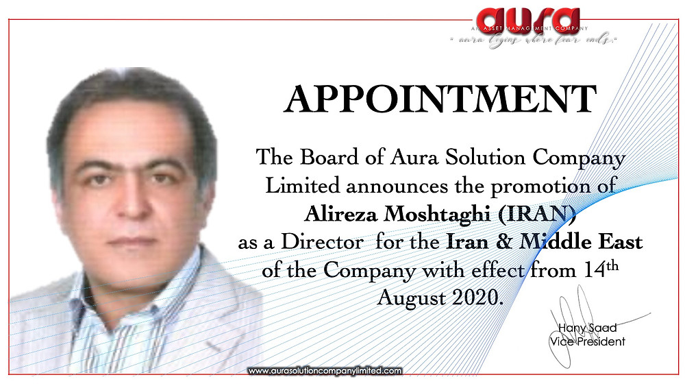 Aura Solution Company Limited (Aura) Appoints Alireza Moshtaghi as a Director for Iran