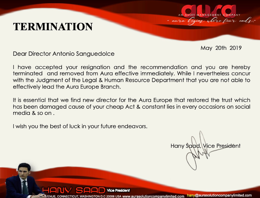 Termination : Antonio Sanguedolce : Aura Solution Company Limited