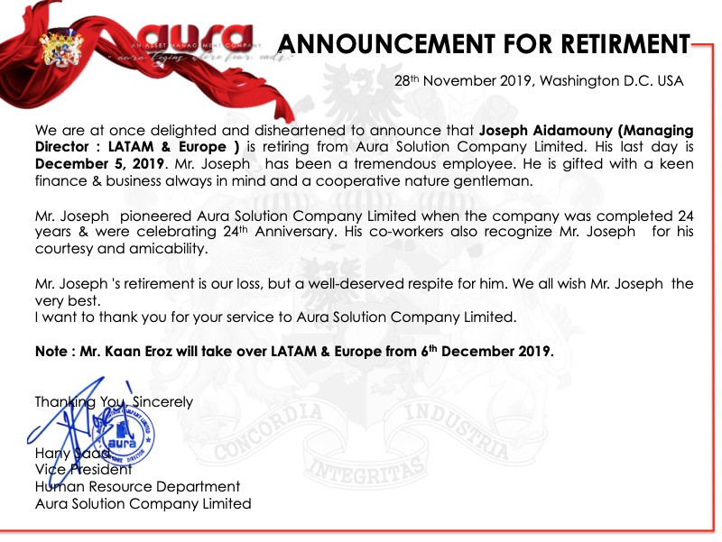 Announcement for Retirement : Joseph Aidamouny : Aura Solution Company Limited