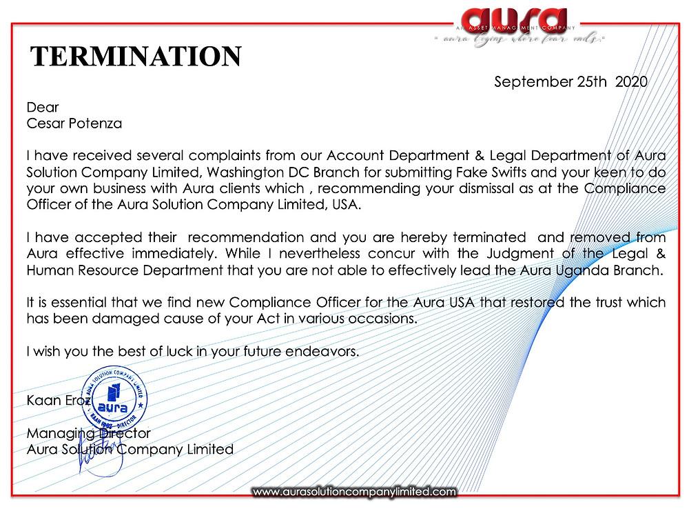 TERMINATION : Cesar Potenza : Aura Solution Company Limited