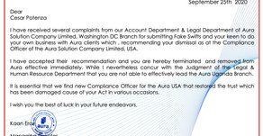 TERMINATION : Cesar Potenza : Aura Solution Company Limited