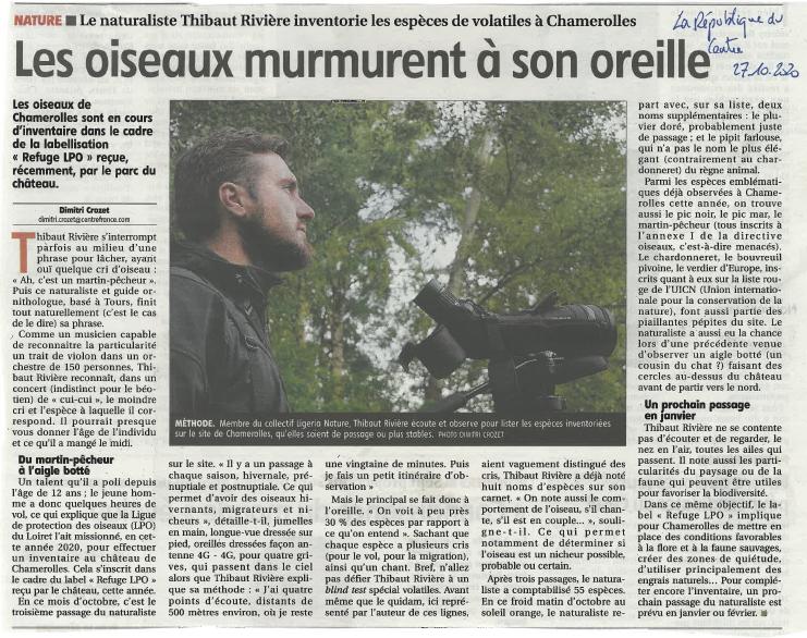 Article République du Centre - Chamerolles (45), octobre 2020
