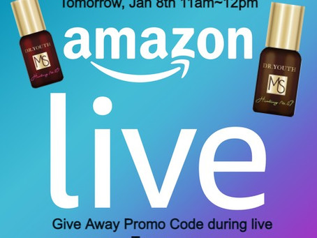 Dr.YOUTH Live will be started at Amazon Live on Jan 8th at 11am! Give away discount code during live