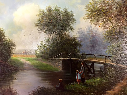 Fishing, french painting