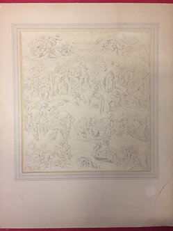 """Ink Drawing of """"The Sistine Chapel"""" in 1761 Attributed to Benjamin West"""