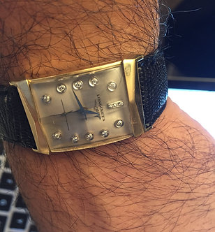 VINTAGE mens 14 K solid Gold case Full Diamond Dial Longines Watch