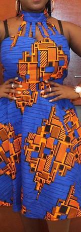 Blue and Orange African Print Dress Darw