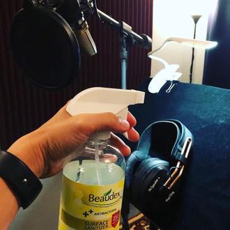 Disinfecting headphones, pop filter, mic, workstations, etc...