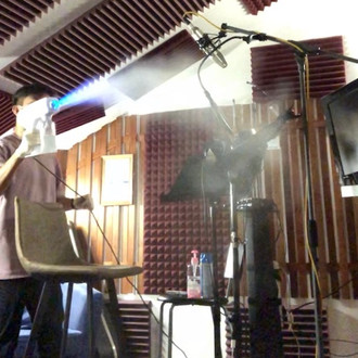 Disinfecting Vocal Booth & Control Room.
