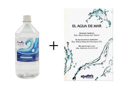 """Pack x 6 botellas de 1 litro + Libro """"El Agua de Mar"""""""