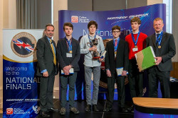Andrew Tyler, chief executive Northrop Grumman Europe (left) pictured with the winners of the 2017 CyberCenturion competition from St Paul's School, London.