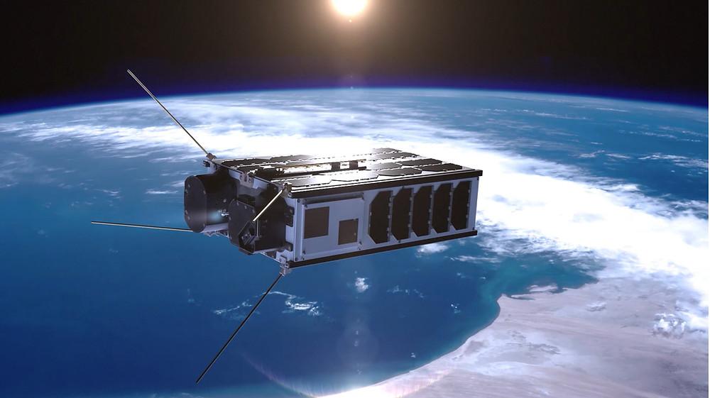 6U nanosatellite with thruster firing