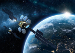 Artist view of the HOTBIRD satellites (credit: Toys Films / Eutelsat, 2018)