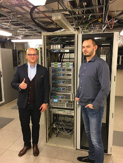 4+1 Ecreso FM Transmitter installation by BCAST for the TIME group located in the Rondo 1 Skyscraper, Warsaw. Pictured are Maciej Lipiński, CTIO  and Robert Kłos, Technical Manager