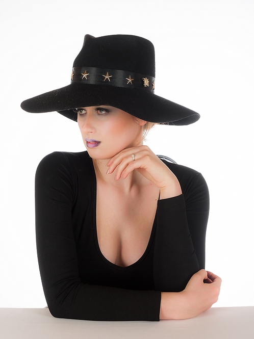 Star Boy - Black Felt Wide Brim Trilby Hat