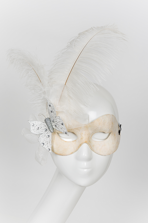 Elegance - Ivory Lace, Feather and Butterfly Masquerade Mask