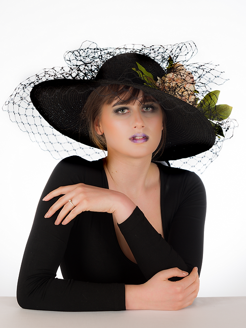 Meryl - Floral Black Veiled Hat