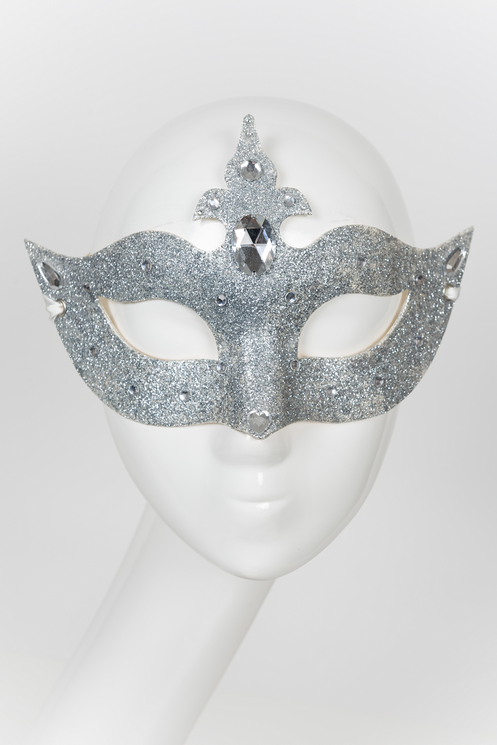 Sparkle and shine with this elegant venetian mask design sealed in silver  glitter and detailed with clear Rhinestones.